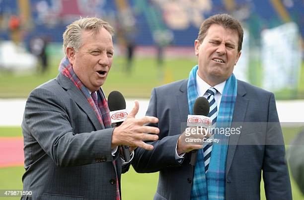Channel Nine commentators Ian Healy and Mark Taylor during day one of the 1st Investec Ashes Test match between England and Australia at SWALEC...