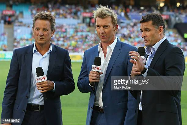 Channel Nine commentators Mark Nicholas Brett Lee and Michael Hussey discuss the game during game three of the International Twenty20 series between...