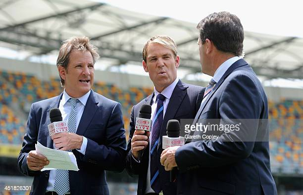 Channel Nine commentators Mark Nicholas Shane Warne and Mark Taylor during day four of the First Ashes Test match between Australia and England at...