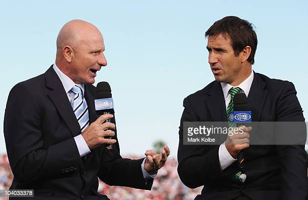Channel Nine commentators Peter Sterling and Andrew Johns speak during their prematch show on the sideline before the NRL Fourth Qualifying Final...