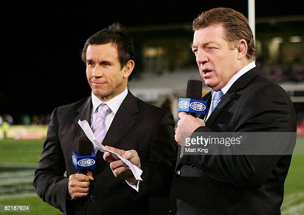 Channel Nine TV personalities Matthew Johns and Phil Gould broadcast prior to the round 21 NRL match between the Manly Warringah Sea Eagles and the...