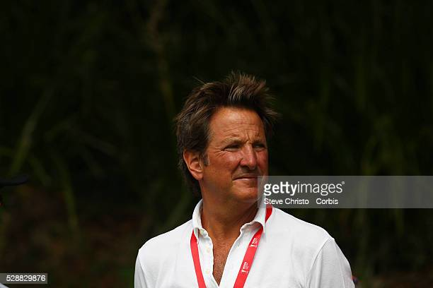Channel Nines cricket commentator Mark Nicholas watches Adam Scott tee off on the 15th at the Australian Golf Club Sydney Australia Sunday 30th...