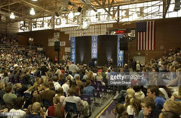 Channel One benefit concert atmosphere during Jewel special appearance and Channel One benefit concert at Lehi High School in Lehi Utah United States