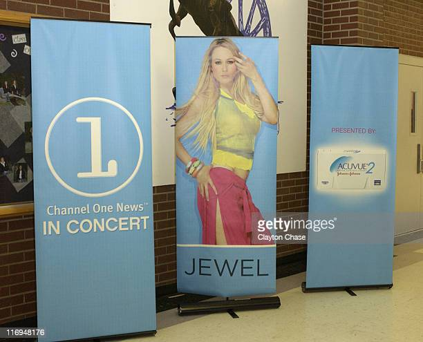 Channel One benefit concert signage featuring Jewel