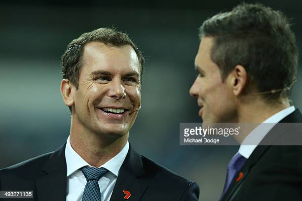 Channel seven commentator Wayne Carey reacts to Matthew Richardson during the round 10 AFL match between the Geelong Cats and the North Melbourne...