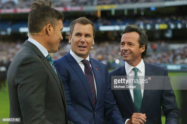 Channel Seven commentators Matthew Richardson Wayne Carey and Hamish McIntosh host the broadcast during the round one AFL match between the Carlton...