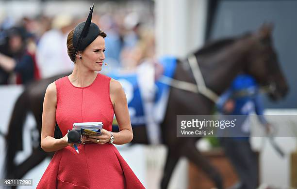 Channel Seven racing commentator Francesca Cumani during Caulfield Guineas Day at Caulfield Racecourse on October 10 2015 in Melbourne Australia