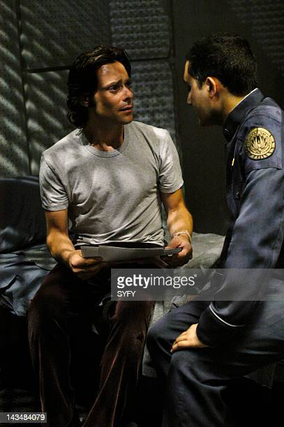 Channel 'Six Degrees of Separation' Episode 7 Aired 11/29/04 Pictured James Callis as Dr Gaius Baltar Alessandro Juliani as Lt Felix Gaeta