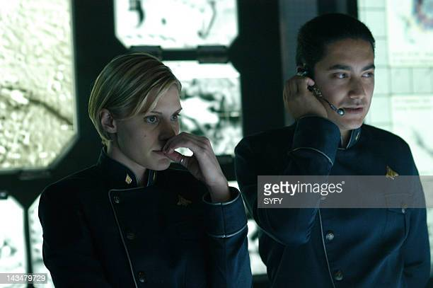 Channel 'The Hand of God' Episode 10 Aired 1/3/05 Pictured Katee Sackhoff as Lt Kara 'Starbuck' Thrace Alessandro Juliani as Lt Felix Gaeta