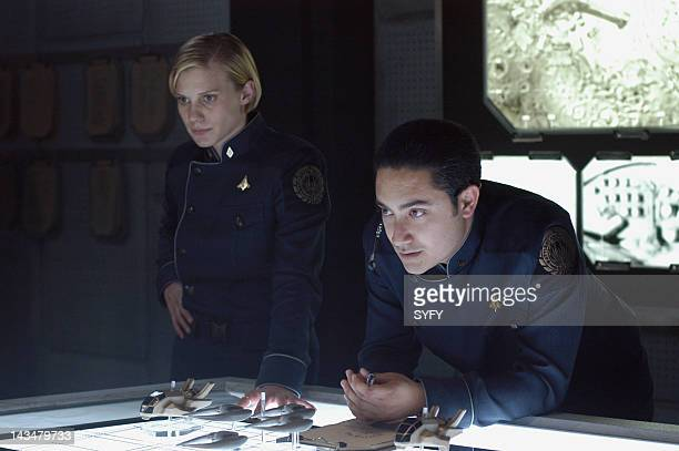 Channel 'The Hand of God' Episode 10 Aired 1/3/05 Pictured Katee Sackhoff as Kara 'Starbuck' Thrace Alessandro Juliani as Felix Gaeta