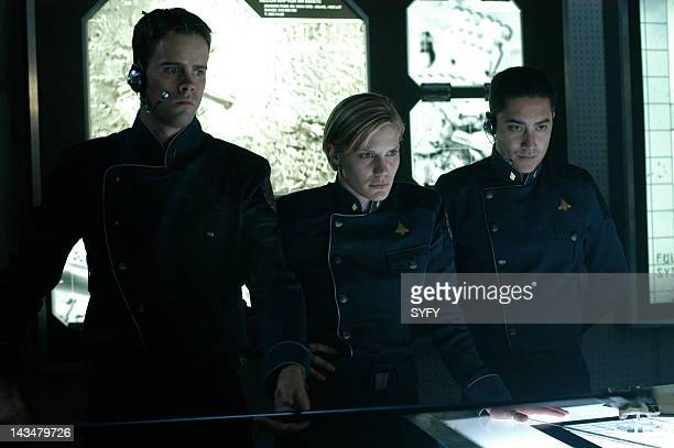 Channel 'The Hand of God' Episode 10 Aired 1/3/05 Pictured unknown cast member Katee Sackhoff as Lt Kara 'Starbuck' Thrace Alessandro Juliani as Lt...