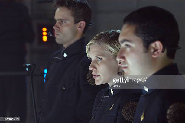 Channel 'The Hand of God' Episode 10 Aired 1/3/05 Pictured Unknown Katee Sackhoff as Kara 'Starbuck' Thrace Alessandro Juliani as Felix Gaeta