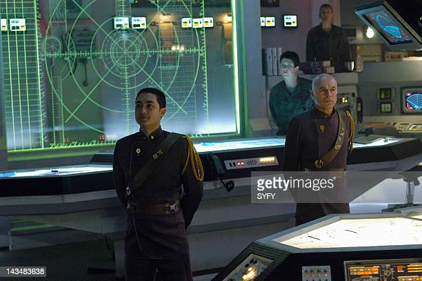 Channel 'Water' Episode 2 Aired 10/25/04 Pictured Alessandro Juliani as Lt Felix Gaeta Michael Hogan as Colonel Saul Tigh