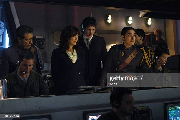 Channel 'Water' Episode 2 Aired 10/25/04 Pictured Edward James Olmos as Commander William Adama Mary McDonnell as President Laura Roslin Paul...