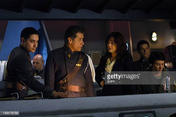 Channel 'Water' Episode 2 Aired 10/25/04 Pictured Edward James Olmos as Commander William Adama Mary McDonnell as President Laura Roslin Alessandro...