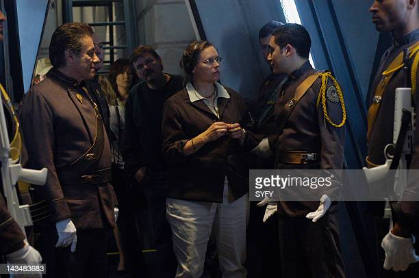 Channel 'Water' Episode 2 Aired 10/25/04 Pictured Edward James Olmos as Commander William Adama Alessandro Juliani as Lt Felix Gaeta