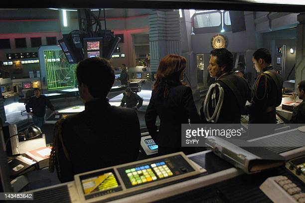 Channel 'Water' Episode 2 Aired 10/25/04 Pictured Jamie Bamber as Captain Lee 'Apollo' Adama Mary McDonnell as President Laura Roslin Edward James...