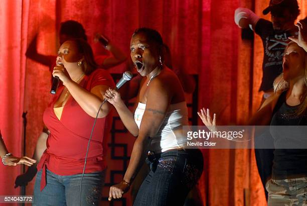 Channesia and Shameka from Brooklyn NY perform songs of their choice complete with backing singers and dancers at the new Karaoke themed restaurant...