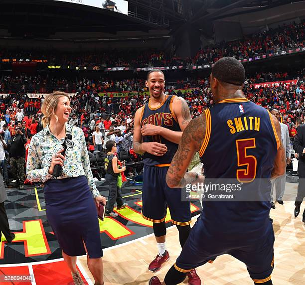 Channing Frye and JR Smith of the Cleveland Cavaliers are pumped up after the win against the Atlanta Hawks during the Eastern Conference Semifinals...