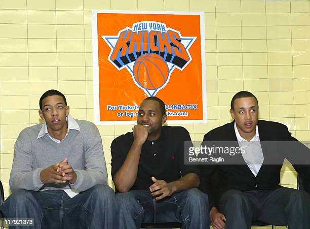 Channing Frye and Marty Collins of the New York Knicks and former Knick John Starks