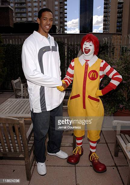 Channing Frye and Ronald McDonald during Richard Jefferson and Channing Frye Visit The Ronald McDonald House in New York City at Ronald McDonald...