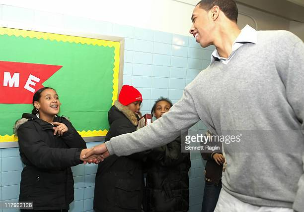 Channing Frye and students during The New York Knicks and Harlem Dowling Deliver Food to the PS 161 After School Program January 11 2007 at Don Pedro...