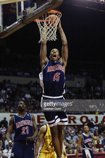 Channing Frye of the Arizona Wildcats goes up for an uncontested dunk during the NCAA basketball game against the USC Trojans at the Los Angeles...