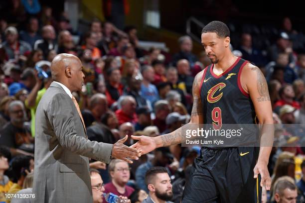 Channing Frye of the Cleveland Cavaliers checks out of the game against the Philadelphia 76ers on December 16 2018 at Quicken Loans Arena in...