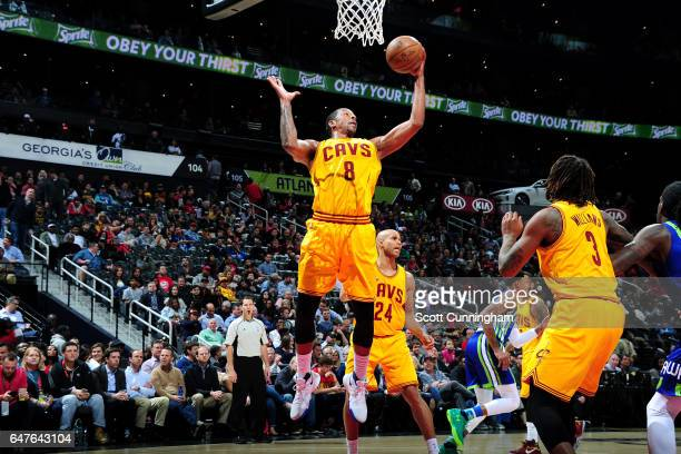 Channing Frye of the Cleveland Cavaliers gets the rebound during the game against the Atlanta Hawks on March 3 2017 at Philips Arena in Atlanta...