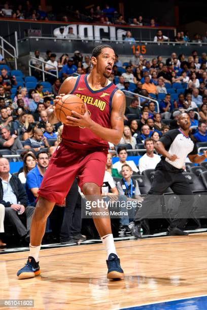 Channing Frye of the Cleveland Cavaliers handles the ball against the Orlando Magic during the preseason game on October 13 2017 at Amway Center in...