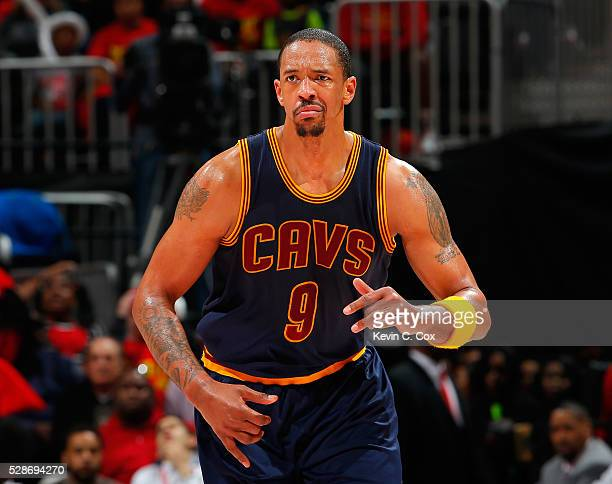 Channing Frye of the Cleveland Cavaliers reacts after hitting a threepoint basket against the Atlanta Hawks in Game Three of the Eastern Conference...