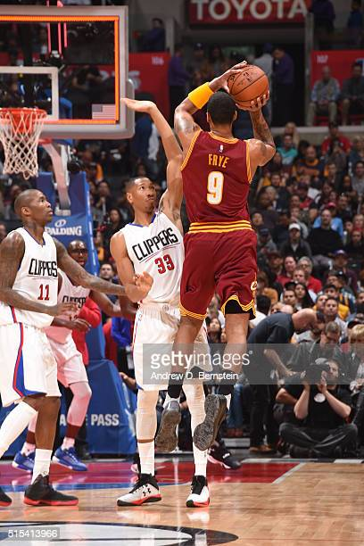 Channing Frye of the Cleveland Cavaliers shoots against the Los Angeles Clippers during the game on March 13 2016 at STAPLES Center in Los Angeles...