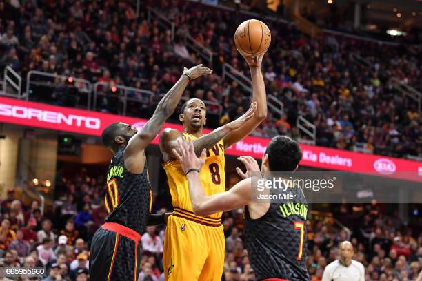 Channing Frye of the Cleveland Cavaliers shoots over Tim Hardaway Jr #10 and Ersan Ilyasova of the Atlanta Hawks during the first half at Quicken...