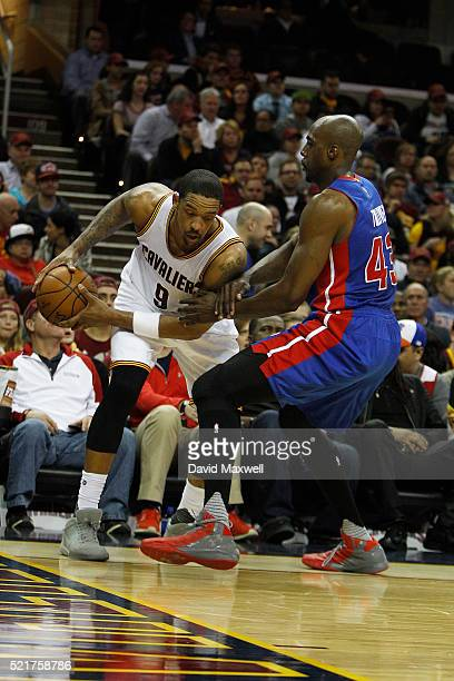 Channing Frye of the Cleveland Cavaliers works against Anthony Tolliver of the Detroit Pistons at Quicken Loans Arena on April 13 2016 in Cleveland...