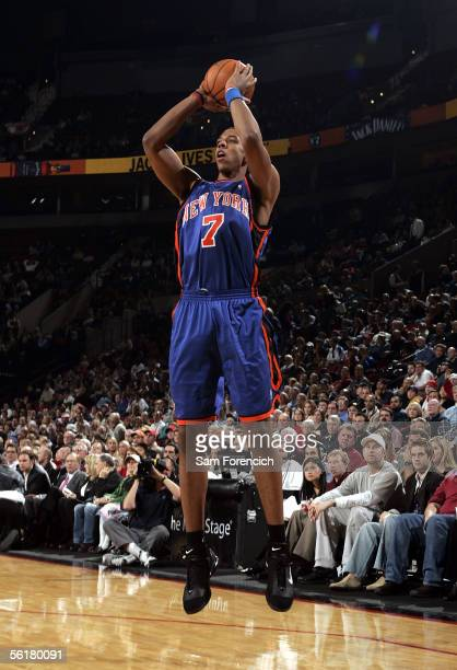 Channing Frye of the New York Knicks shoots a jumper during the game against the Portland Trail Blazers on November 9 2005 at the Rose Garden Arena...