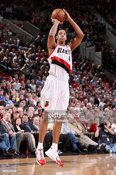 Channing Frye of the Portland Trail Blazers shoots against the Oklahoma City Thunder during the game on April 13 2009 at the Rose Garden in Portland...
