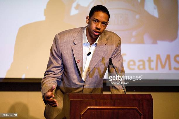 Channing Frye of the Portland Trail Blazers speaks during the The Oregon Chapter of the National Multiple Sclerosis Society's MS Breakfast with...