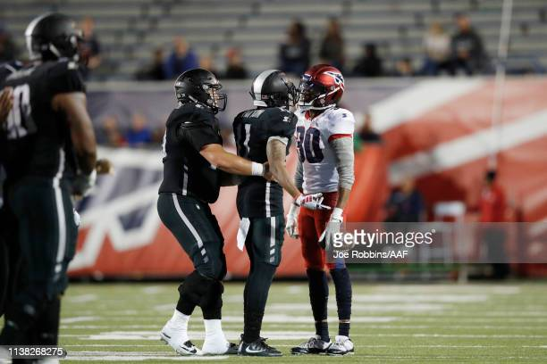 Channing Stribling of the Memphis Express gets into a scuffle with Quinton Patton of the Birmingham Iron during the game at Liberty Bowl Memorial...