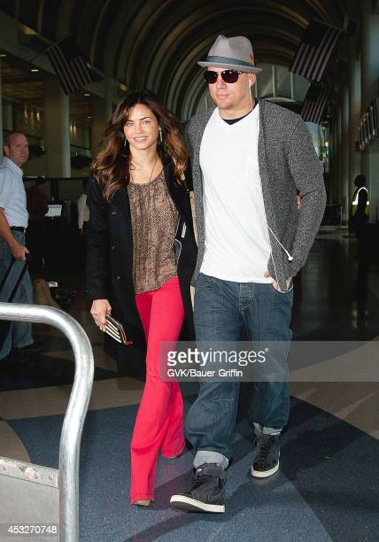 Channing Tatum and his wife Jenna DewanTatum are seen at Los Angeles International Airport on February 12 2012 in Los Angeles California