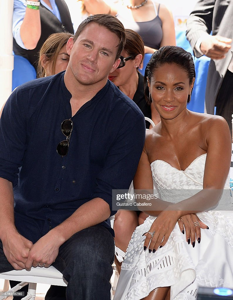 Channing Tatum and Jada Pinkett Smith attends as the 'Magic Mike XXL' cast are honored with stars on The Official Miami Walk Of Fame at Bayside Marketplace on June 24, 2015 in Miami, Florida.