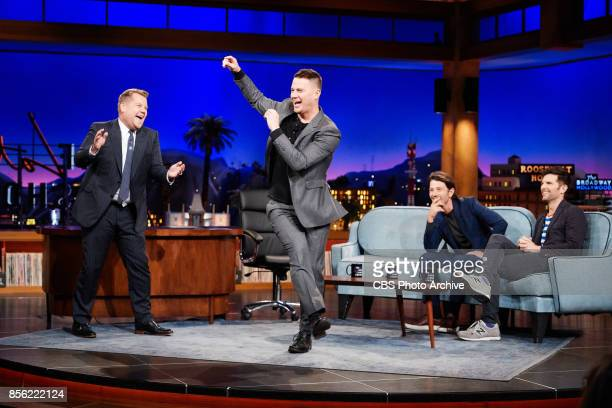 Channing Tatum and James Corden perform an impromptu dance battle with Diego Luna and Adam Scott looking on during The Late Late Show with James...