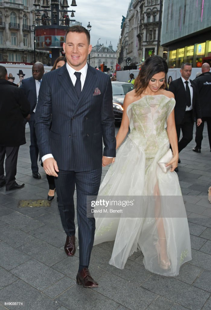 Channing Tatum (L) and Jenna Dewan attend the World Premiere of 'Kingsman: The Golden Circle' at Odeon Leicester Square on September 18, 2017 in London, England.