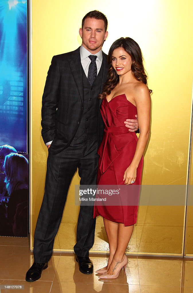 Channing Tatum and Jenna Dewan attends the European premiere of 'Magic Mike' at The Mayfair Hotel on July 10, 2012 in London, England.