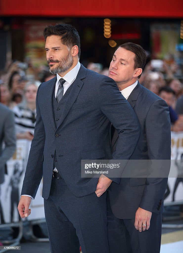 Channing Tatum and Joe Manganiello attend the European Premiere of 'Magic Mike XXL' at Vue West End on June 30, 2015 in London, England.