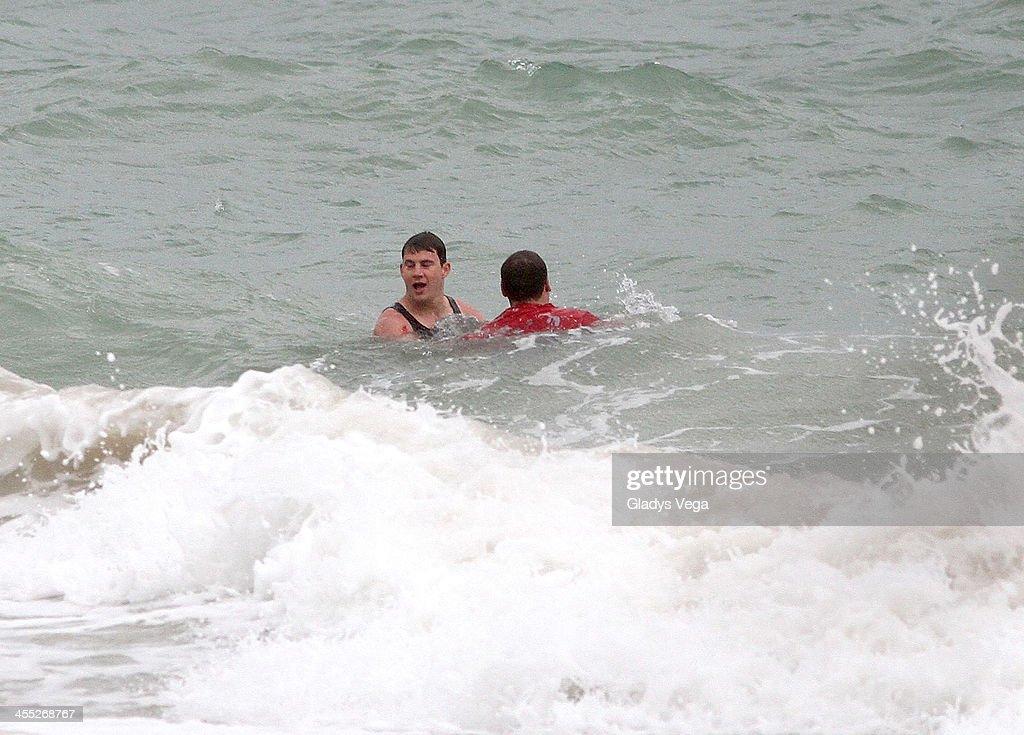 Channing Tatum and Jonah Hill are seen filming '22 Jump Street' at Condado Beach on December 11, 2013 in San Juan, Puerto Rico.