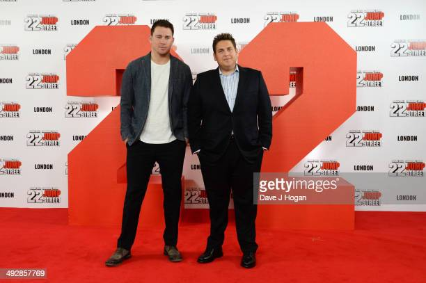 Channing Tatum and Jonah Hill attend a photocall for 22 Jump Street at Claridges on May 22 2014 in London England