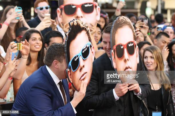 Channing Tatum and Jonah Hill attend the 22 Jump Street Los Angeles premiere on June 10 2014 held at the Regency Village Theatre in Westwood...