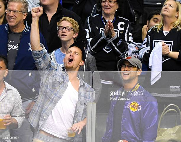 Channing Tatum and Joseph GordonLevitt attend the Los Angeles Kings vs Phoenix Coyotes playoff hockey game at Staples Center on May 17 2012 in Los...
