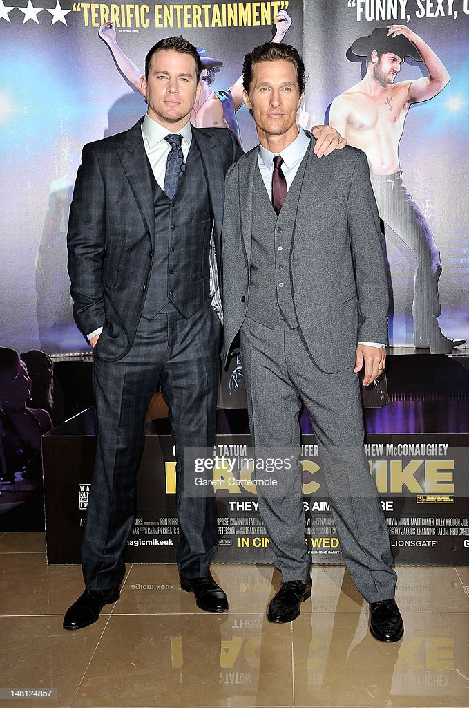 Channing Tatum and Matthew McConaughey attend the European premiere of Magic Mike at The Mayfair Hotel on July 10, 2012 in London, England.