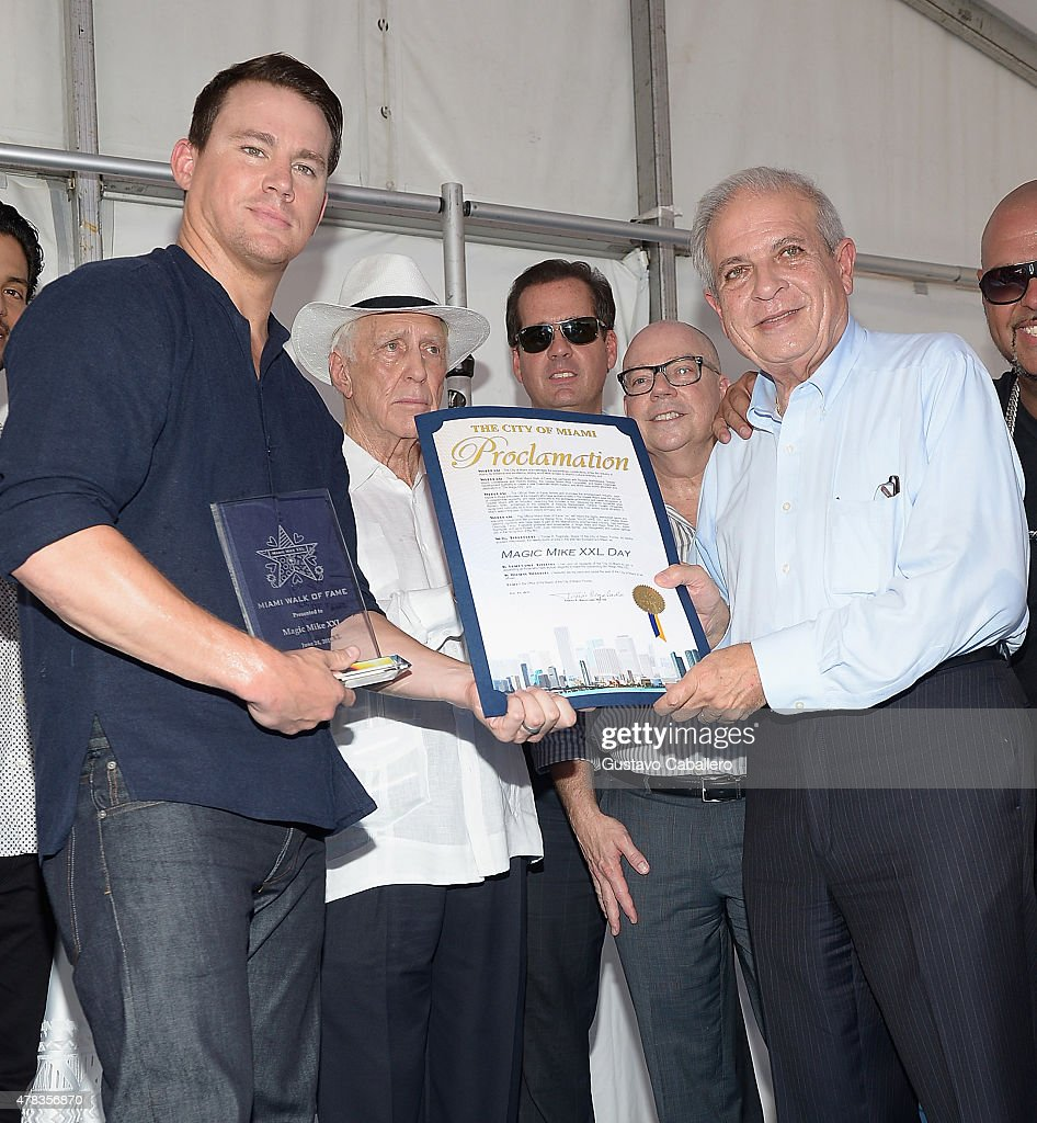 Channing Tatum and Miami Mayor Tomas Pedro Regalado attends Magic Mike XXL cast honored with stars on The Official Miami Walk Of Fame at Bayside Marketplace on June 24, 2015 in Miami, Florida.